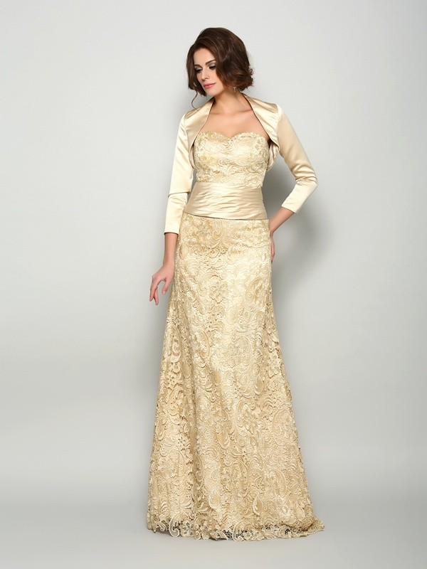 A-Line/Princess Sleeveless Satin Floor-Length Sweetheart Mother of the Bride Gowns
