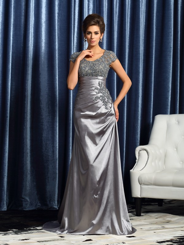 Trumpet/Mermaid Scoop Short Sleeves Beading Applique Taffeta Sweep/Brush Train Mother of the Bride Gowns