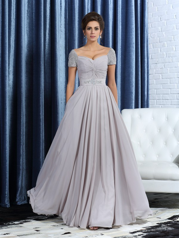 A-Line/Princess Sweetheart Short Sleeves Beading Ankle-Length Chiffon Mother of the Bride Gowns