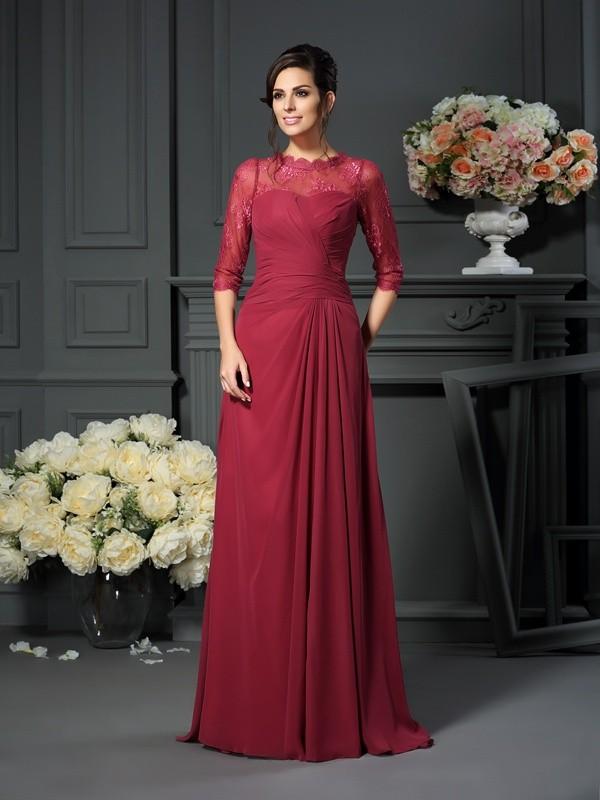A-Line/Princess Scoop Applique 1/2 Sleeves Floor-Length Chiffon Mother of the Bride Gowns