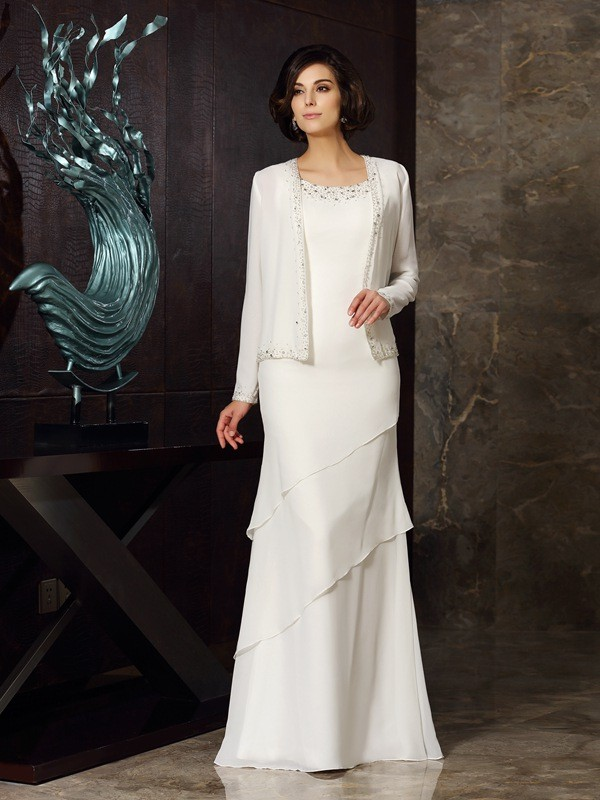 Sheath/Column Scoop Sleeveless Chiffon Floor-Length Beading Mother of the Bride Gowns
