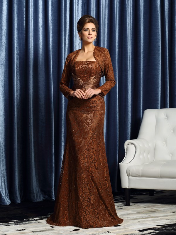 Sheath/Column Sleeveless Strapless Court Train Silk like Satin Mother of the Bride Gowns