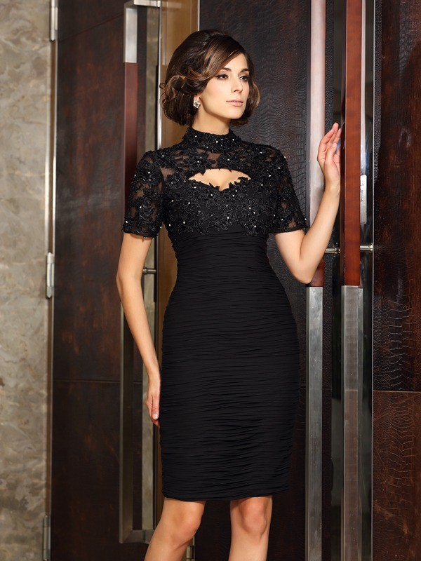 Sheath/Column Short Sleeves High Neck Beading Knee-Length Chiffon Mother of the Bride Gowns