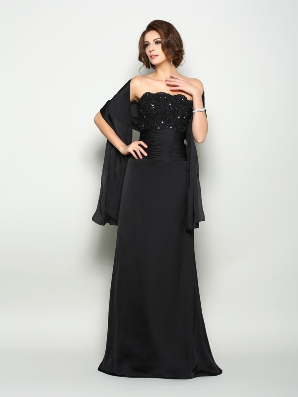 A-Line/Princess Sleeveless Strapless Beading Sweep/Brush Train Chiffon Mother of the Bride Gowns