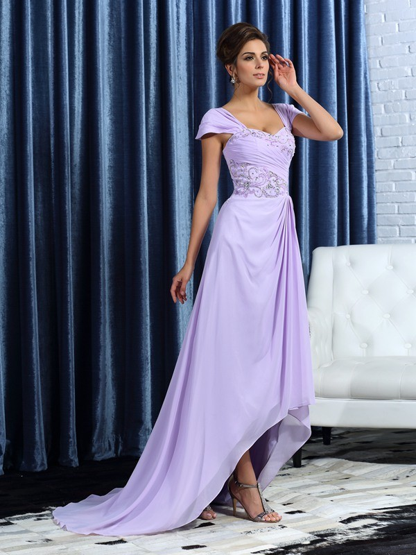 A-Line/Princess Sleeveless Straps Chiffon Asymmetrical Beading Mother of the Bride Gowns