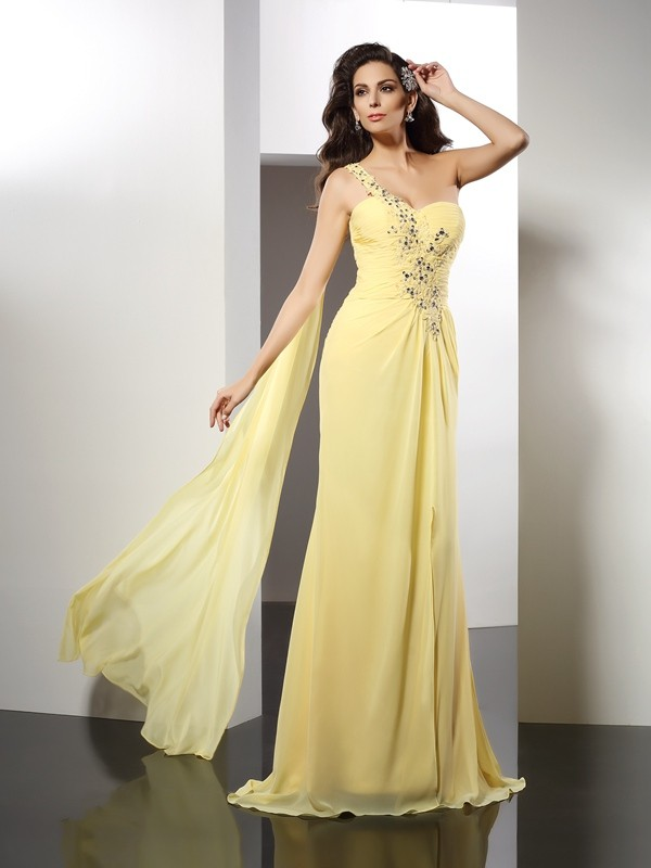 A-Line/Princess One-Shoulder Beading Sleeveless Floor-Length Chiffon Gowns