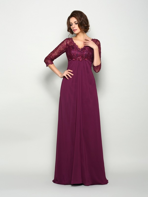 A-Line/Princess 3/4 Sleeves V-neck Sweep/Brush Train Chiffon Beading Mother of the Bride Dresses