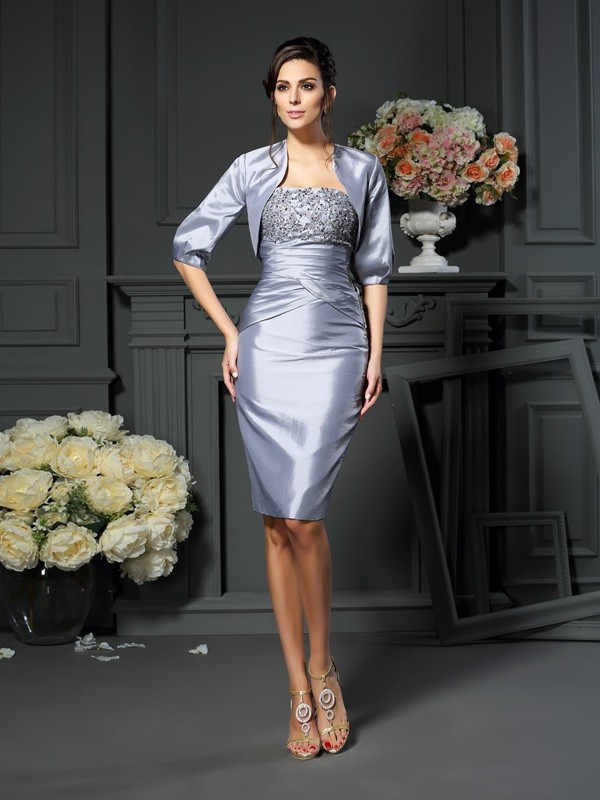 Sheath/Column Sweetheart Knee-length Taffeta Mother of the Bride Dresses