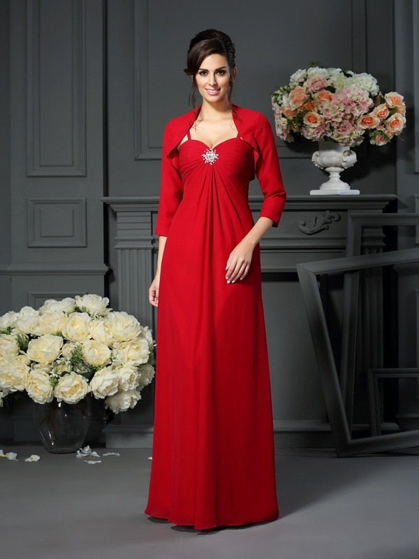 A-Line/Princess Spaghetti Straps Chiffon Beading Floor-Length Mother of the Bride Dresses