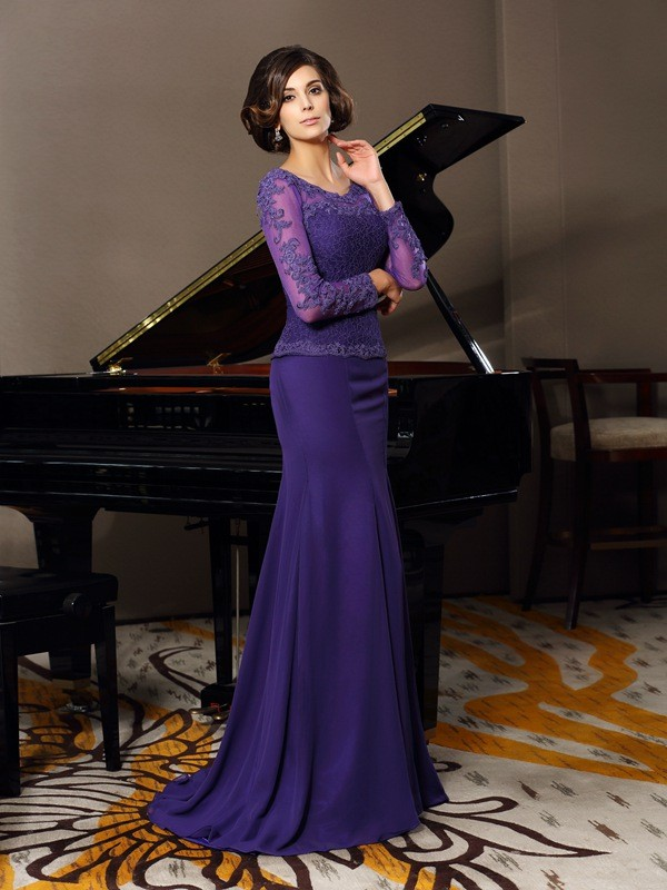 A-Line/Princess Scoop 3/4 Sleeves Chiffon Floor-Length Applique Mother of the Bride Dresses