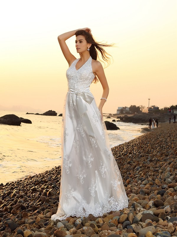 A-Line/Princess Sash/Ribbon/Belt Halter Lace Chapel Train Wedding Dresses
