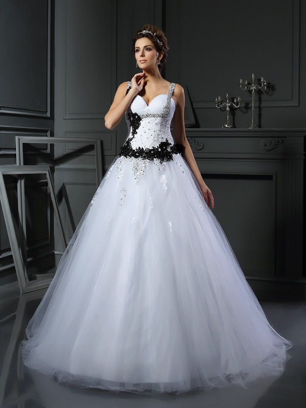 Ball Gown Straps Tulle Applique Chapel Train Beading Wedding Dresses