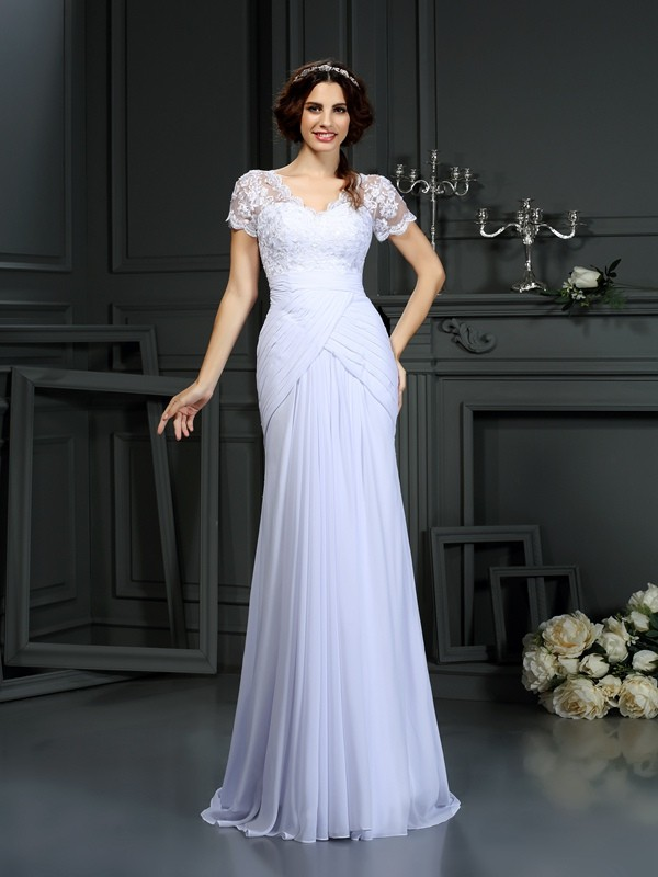 Sheath/Column V-neck Short Sleeves Lace Chiffon Court Train Wedding Dresses