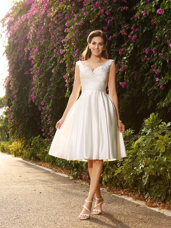 A-Line/Princess V-neck Satin Knee-Length Wedding Dresses