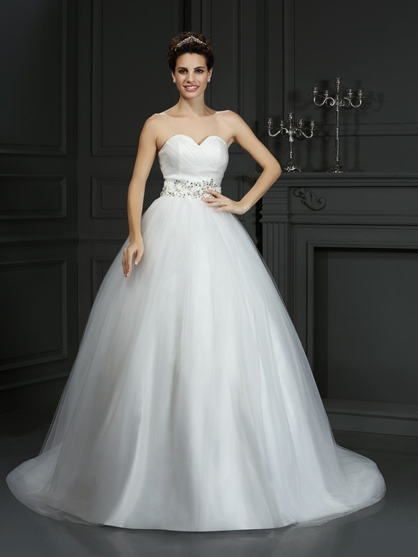 Ball Gown Sweetheart Beading Court Train Net Wedding Dresses