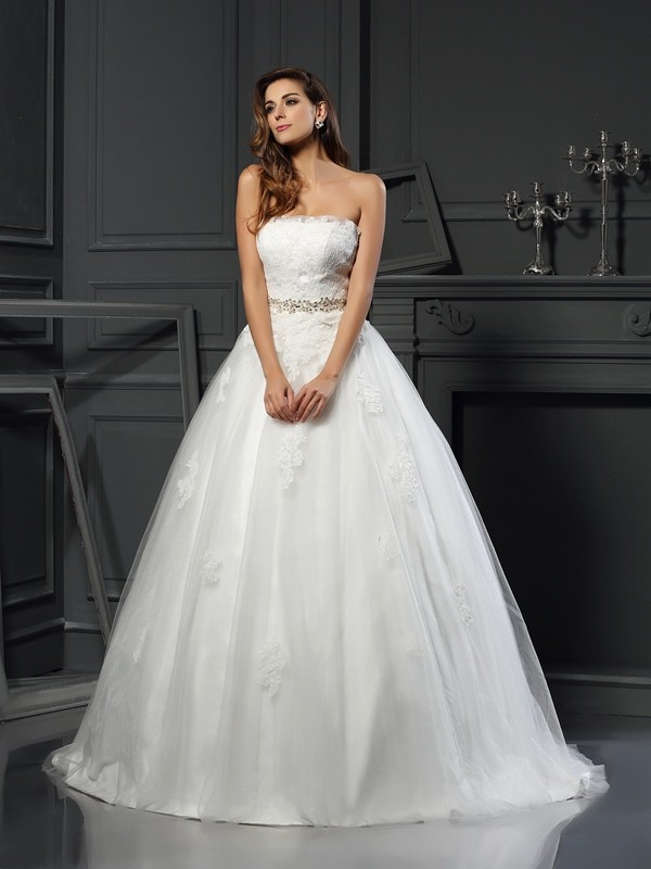 Ball Gown Strapless Net Applique Court Train Wedding Dresses