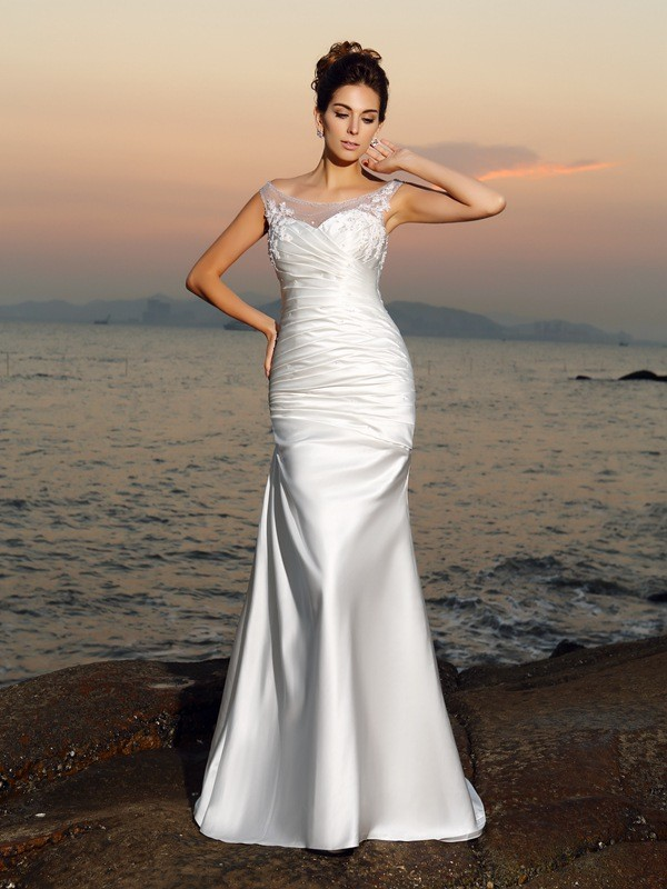 Trumpet/Mermaid Scoop Applique Beading Satin Sweep/Brush Train Wedding Dresses