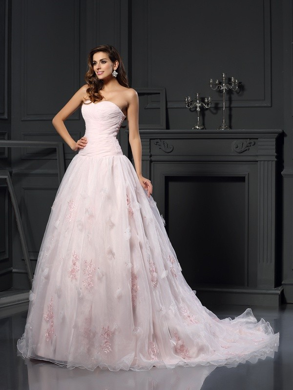 Ball Gown Sweetheart Satin Chapel Train Ruffles Wedding Dresses