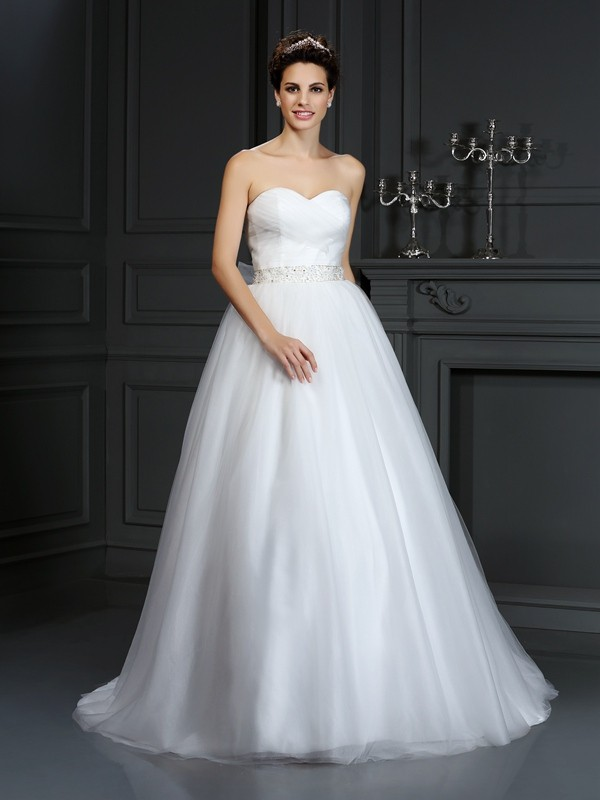 Ball Gown Sweetheart Beading Court Train Net Bridal Dresses