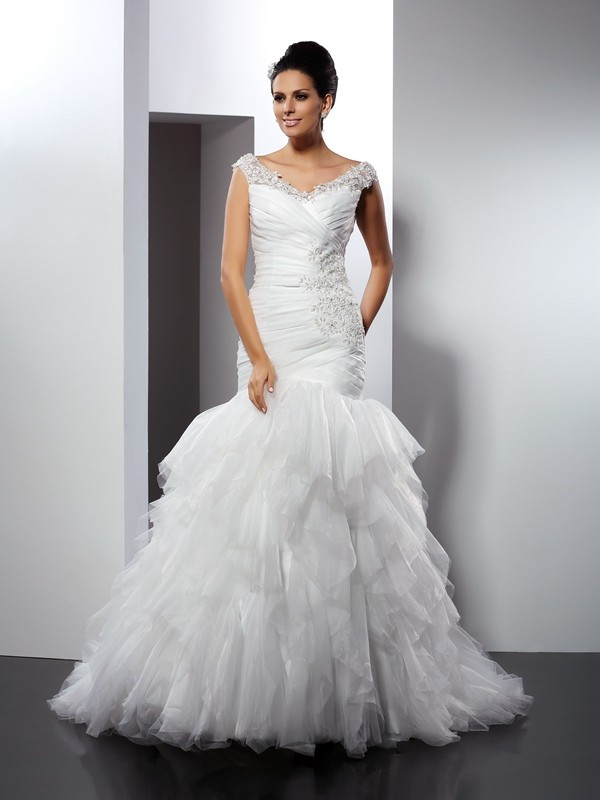 Trumpet/Mermaid V-neck Applique Cathedral Train Tulle Wedding Dresses