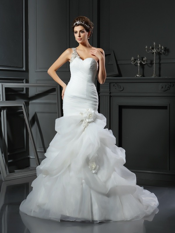 Trumpet/Mermaid Satin Chapel Train Ruffles Wedding Dresses