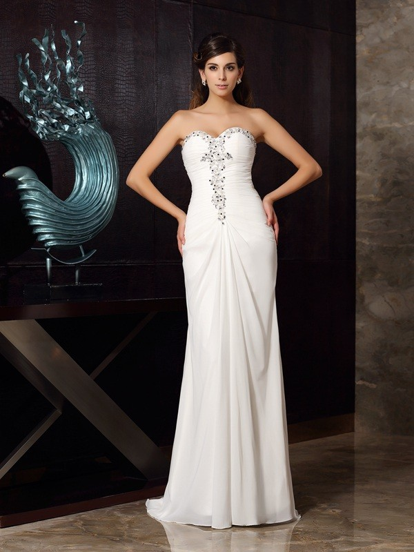 Mermaid Sweetheart Beading Sweep/Brush Train Chiffon Dresses