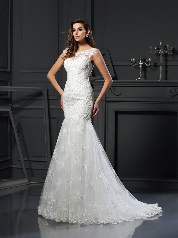 Trumpet/Mermaid Scoop Short Sleeves Tulle Chapel Train Applique Wedding Dresses