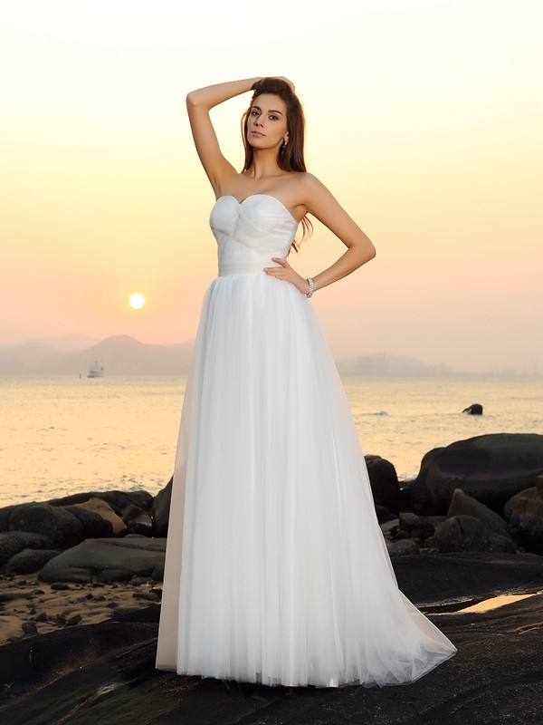 A-Line/Princess Sweep/Brush Train Sweetheart Net Wedding Dresses