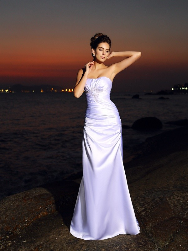 Trumpet/Mermaid Sweetheart Satin Chapel Train Wedding Dresses
