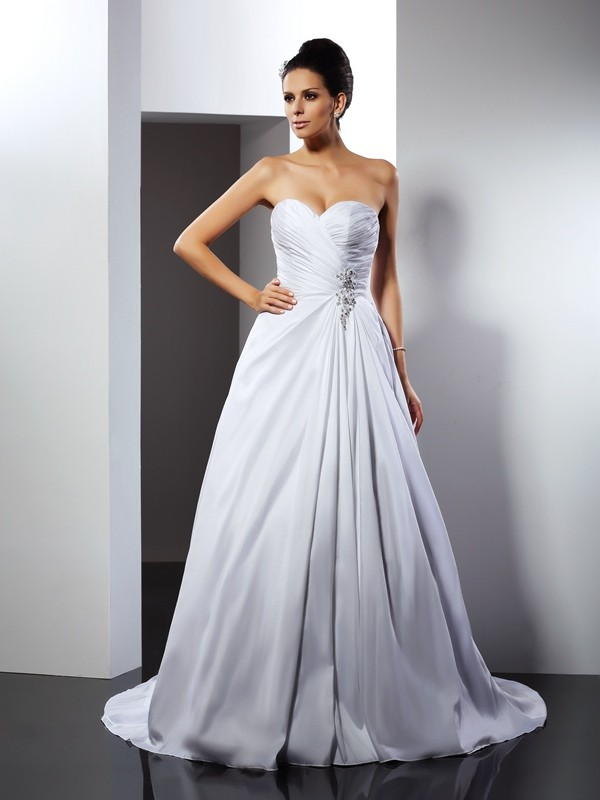 A-Line/Princess Sweetheart Ruffles Court Train Taffeta Wedding Dresses