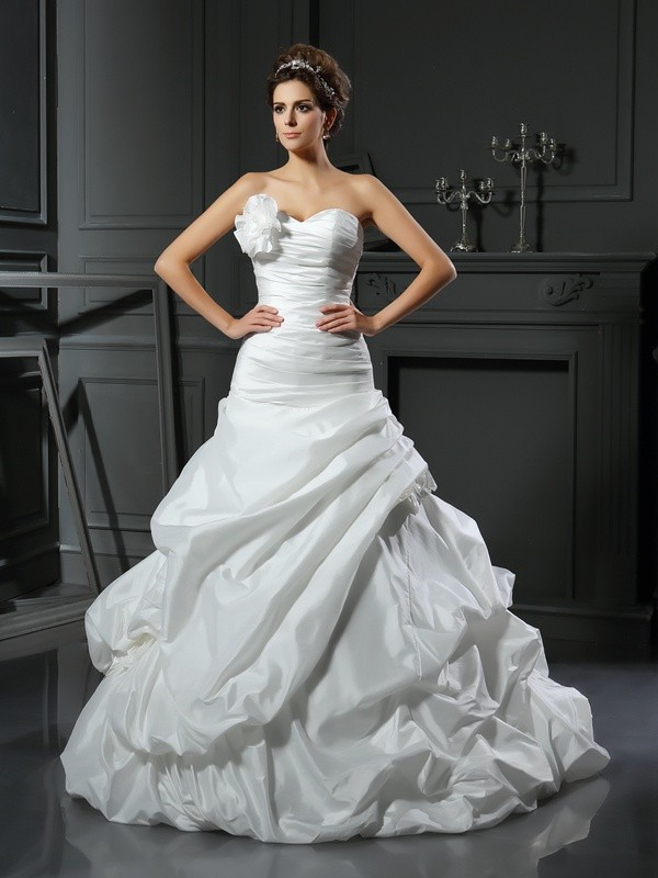 Ball Gown Satin Sweetheart Cathedral Train Hand-Made Flower Wedding Dresses
