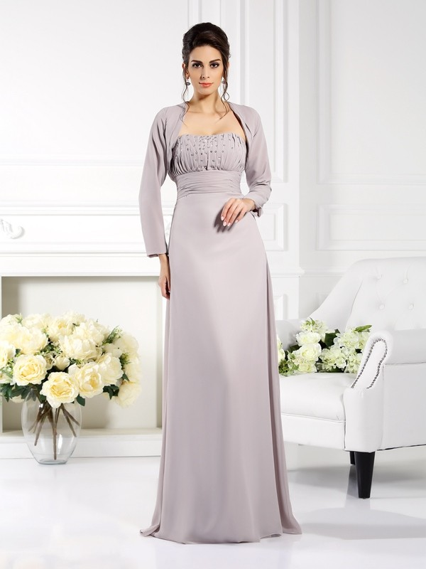 A-Line/Princess Strapless Beading Floor-Length Chiffon Mother of the Bride Dresses