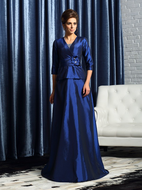 A-Line/Princess V-neck 1/2 Sleeves Taffeta Floor-Length Beading Mother of the Bride Dresses