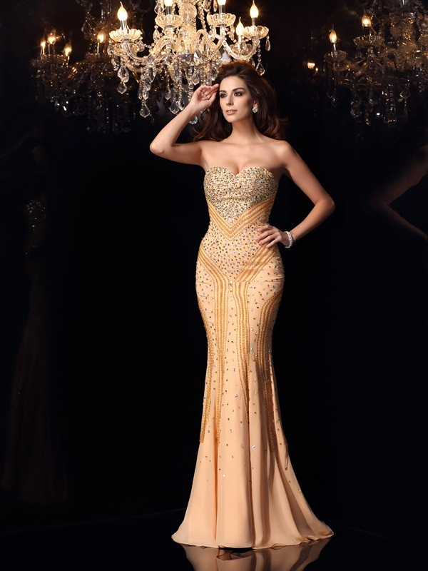Trumpet/Mermaid Chiffon Beading Sweetheart Sweep/Brush Train Dresses