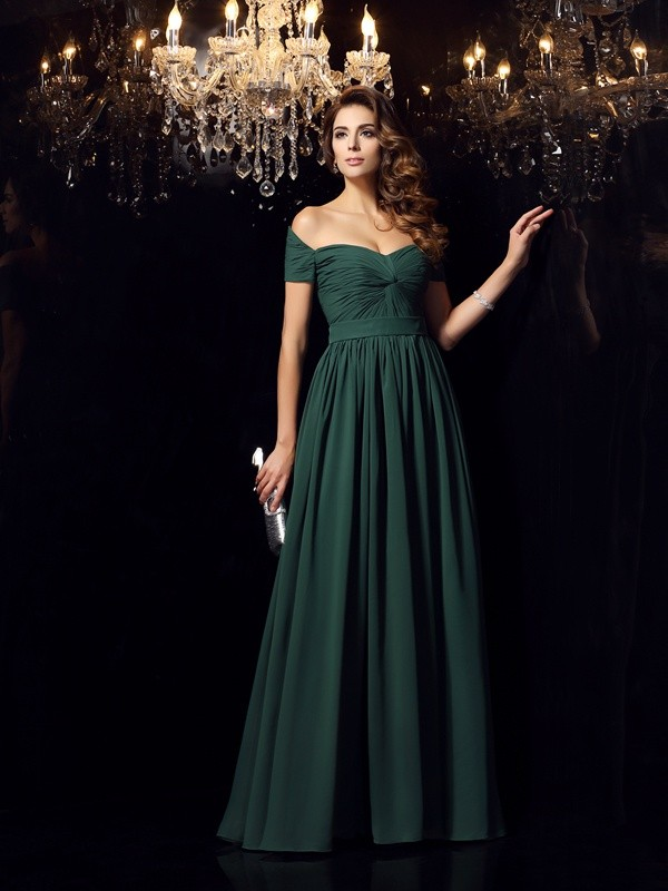 A-Line/Princess Off-the-Shoulder Chiffon Ruched Floor-Length Dresses