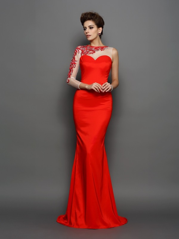 Trumpet/Mermaid High Neck Long Sleeves Elastic Woven Satin Embroidery Court Train Gowns