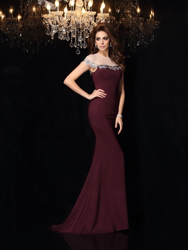 Trumpet/Mermaid Sleeveless High Neck Elastic Woven Satin Court Train Applique Gowns