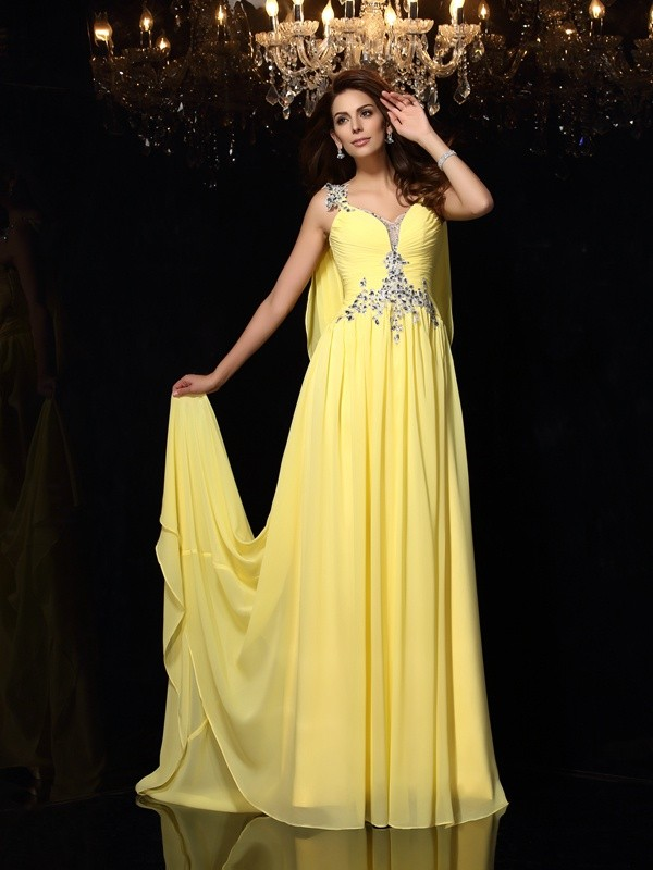 A-Line/Princess Straps Sleeveless Beading Court Train Chiffon Dresses