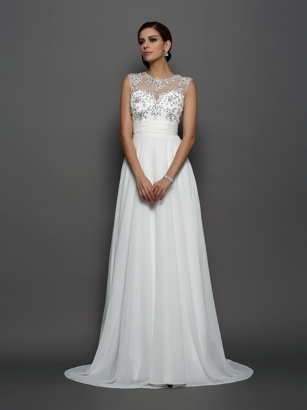 A-Line/Princess Bateau Sleeveless Chiffon Applique Court Train Gowns