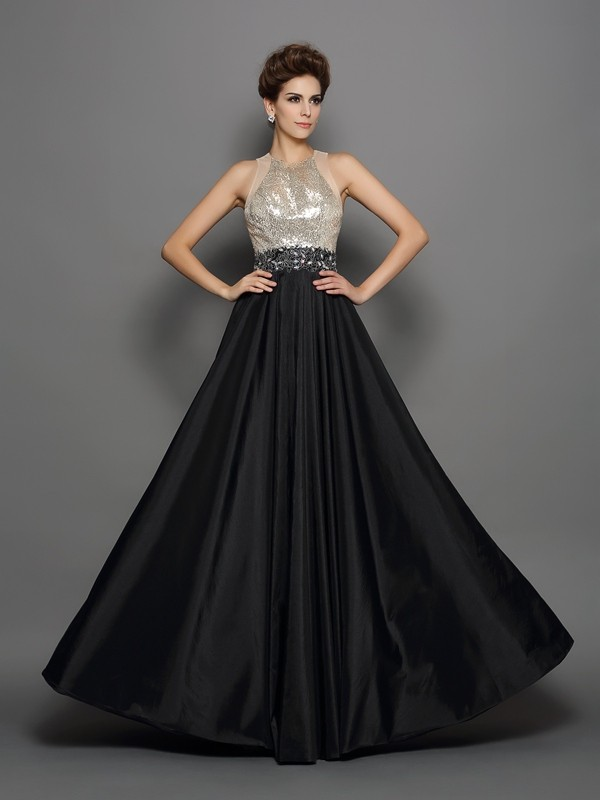 A-Line/Princess Taffeta High Neck Sequin Floor-Length Dresses