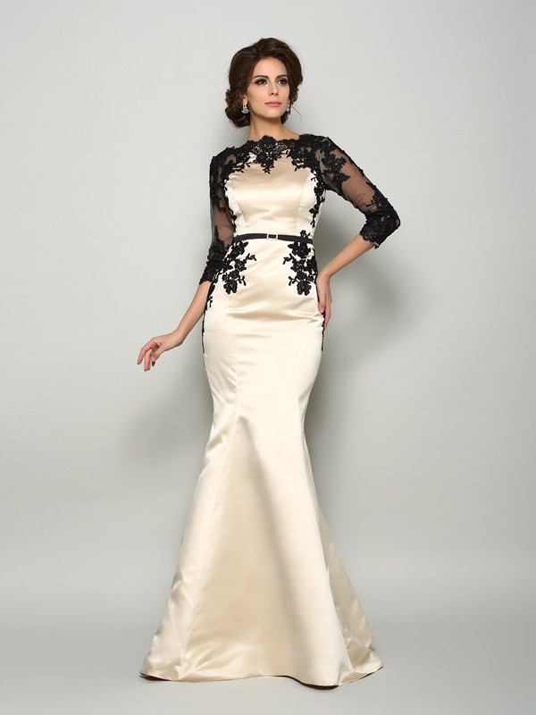 Trumpet/Mermaid Bateau 1/2 Sleeves Satin Lace Court Train Dresses