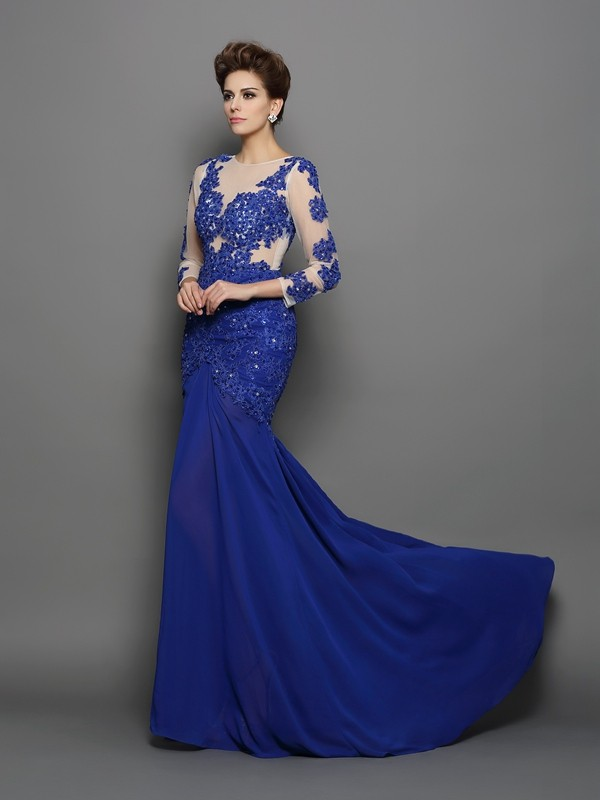Trumpet/Mermaid Scoop Long Sleeves Chiffon Lace Sweep/Brush Train Gowns