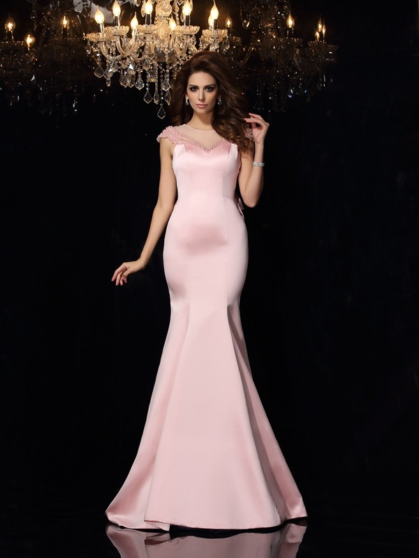 Trumpet/Mermaid Scoop Satin Sleeveless Beading Court Train Gowns