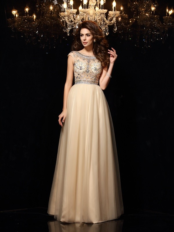 A-Line/Princess Scoop Net Beading Floor-Length Dresses