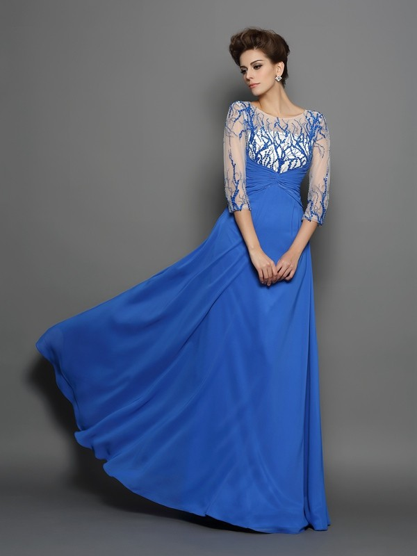 A-Line/Princess Scoop 1/2 Sleeves Applique Floor-Length Chiffon Gowns