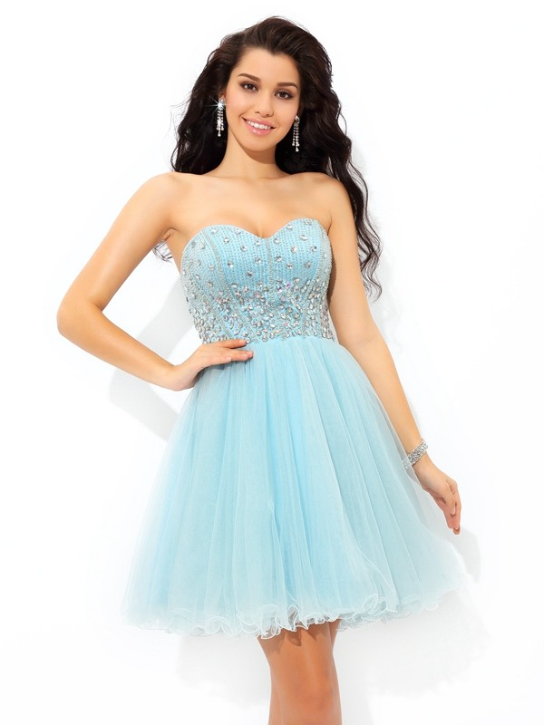 A-Line/Princess Sweetheart Sleeveless Beading Mini Satin Cocktail Dress