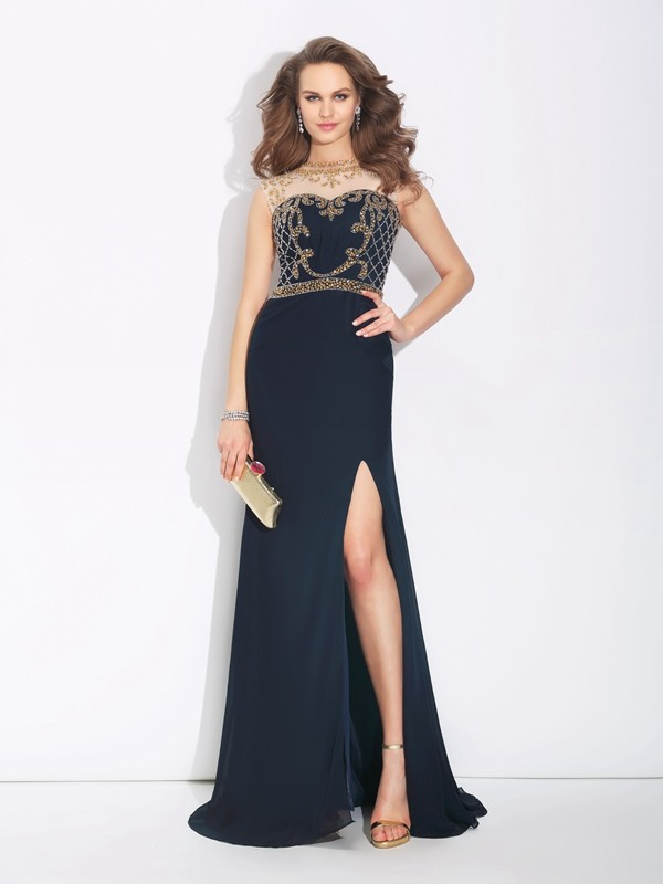 A-Line/Princess Sleeveless Jewel Sweep/Brush Train Chiffon Dresses