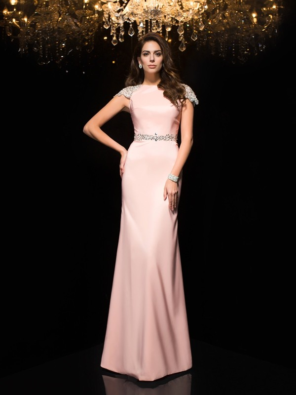 Sheath/Column Jewel Short Sleeves Satin Floor-Length Dresses
