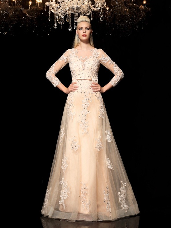 Princess Sheer Neck Long Sleeves Applique Floor-Length Satin Dresses