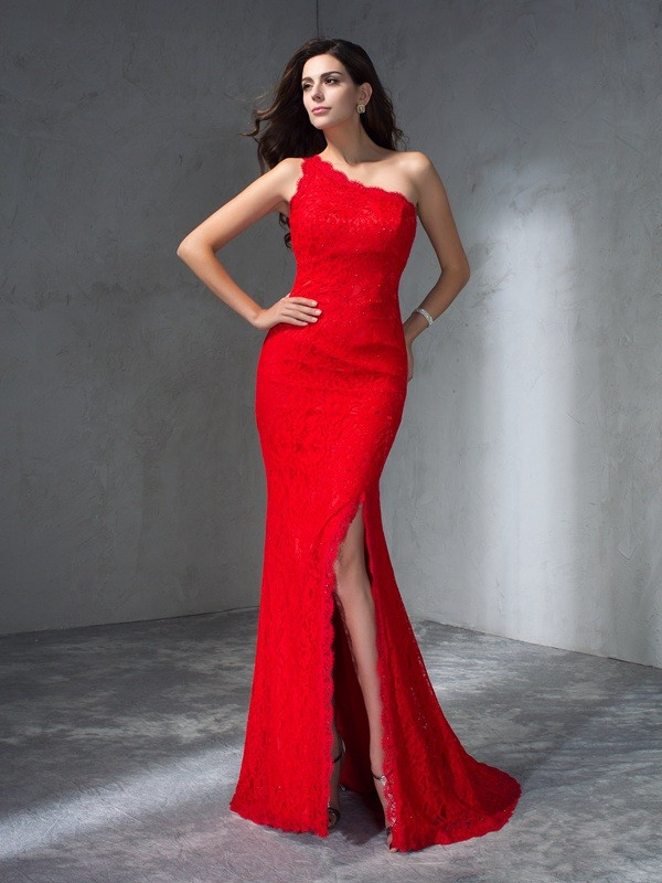 Trumpet/Mermaid One-Shoulder Sleeveless Sweep/Brush Train Lace Dress